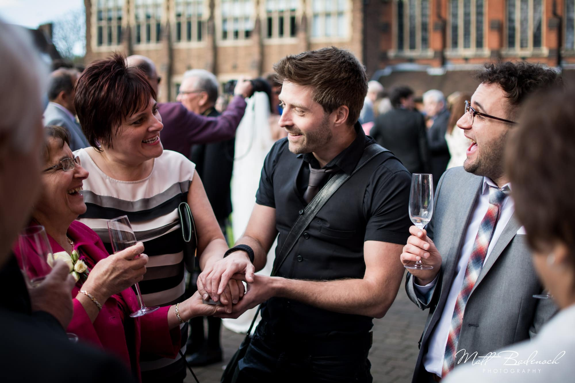 Neb and guests at a wedding, Neb Magic wedding magician London | Matt Badenoch Photography
